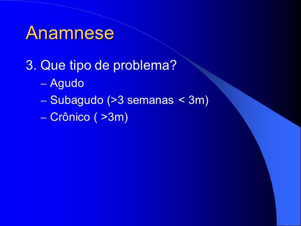 Anamnese 3. Que tipo de problema? – Agudo – Subagudo (>3 semanas < 3m) – Crônico ( >3m)