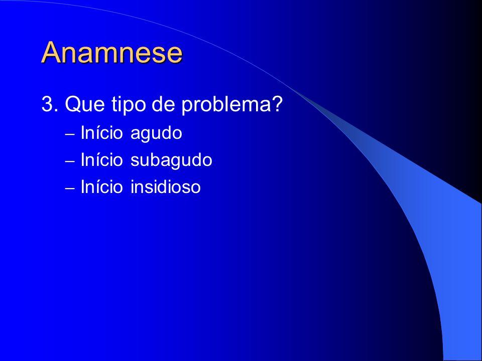 Anamnese 3. Que tipo de problema? – Início agudo – Início subagudo – Início insidioso