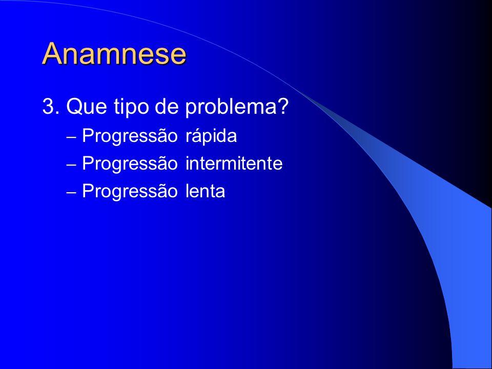 Anamnese 3. Que tipo de problema? – Progressão rápida – Progressão intermitente – Progressão lenta
