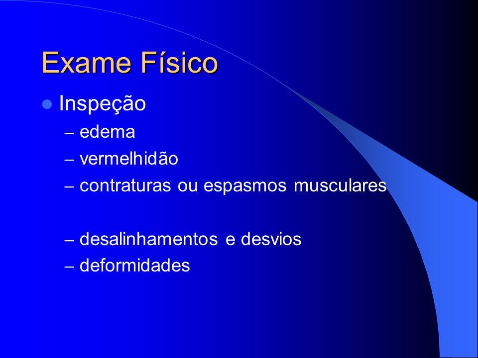 Exame Físico Inspeção – edema – vermelhidão – contraturas ou espasmos musculares – desalinhamentos e desvios – deformidades