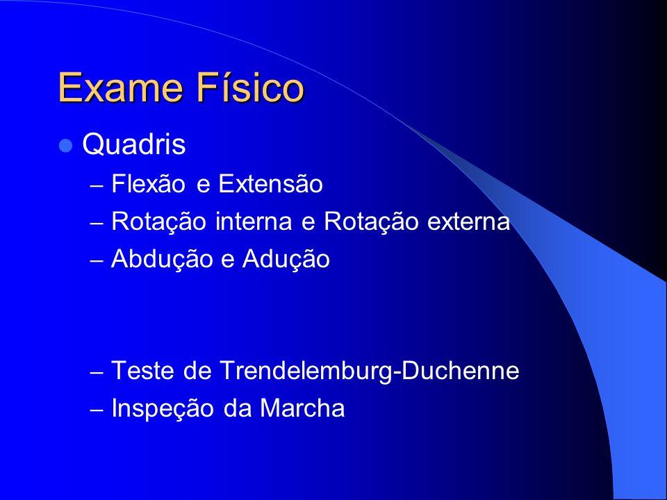 Exame Físico Quadris – Flexão e Extensão – Rotação interna e Rotação externa – Abdução e Adução – Teste de Trendelemburg-Duchenne – Inspeção da Marcha