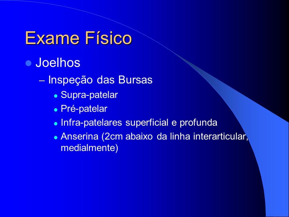 Exame Físico Joelhos – Inspeção das Bursas Supra-patelar Pré-patelar Infra-patelares superficial e profunda Anserina (2cm abaixo da linha interarticul