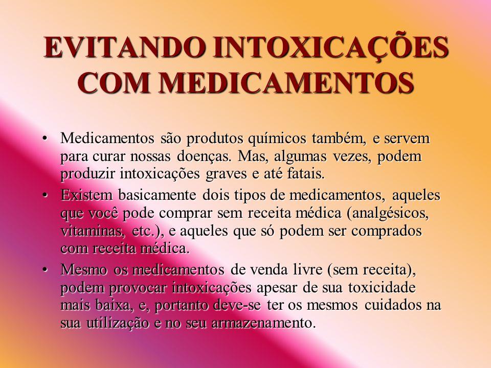 EVITANDO INTOXICAÇÕES COM MEDICAMENTOS Medicamentos são produtos químicos também, e servem para curar nossas doenças. Mas, algumas vezes, podem produz