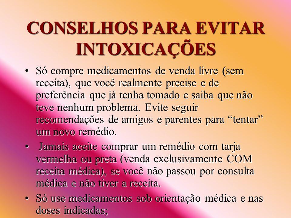 CONSELHOS PARA EVITAR INTOXICAÇÕES Só compre medicamentos de venda livre (sem receita), que você realmente precise e de preferência que já tenha tomad
