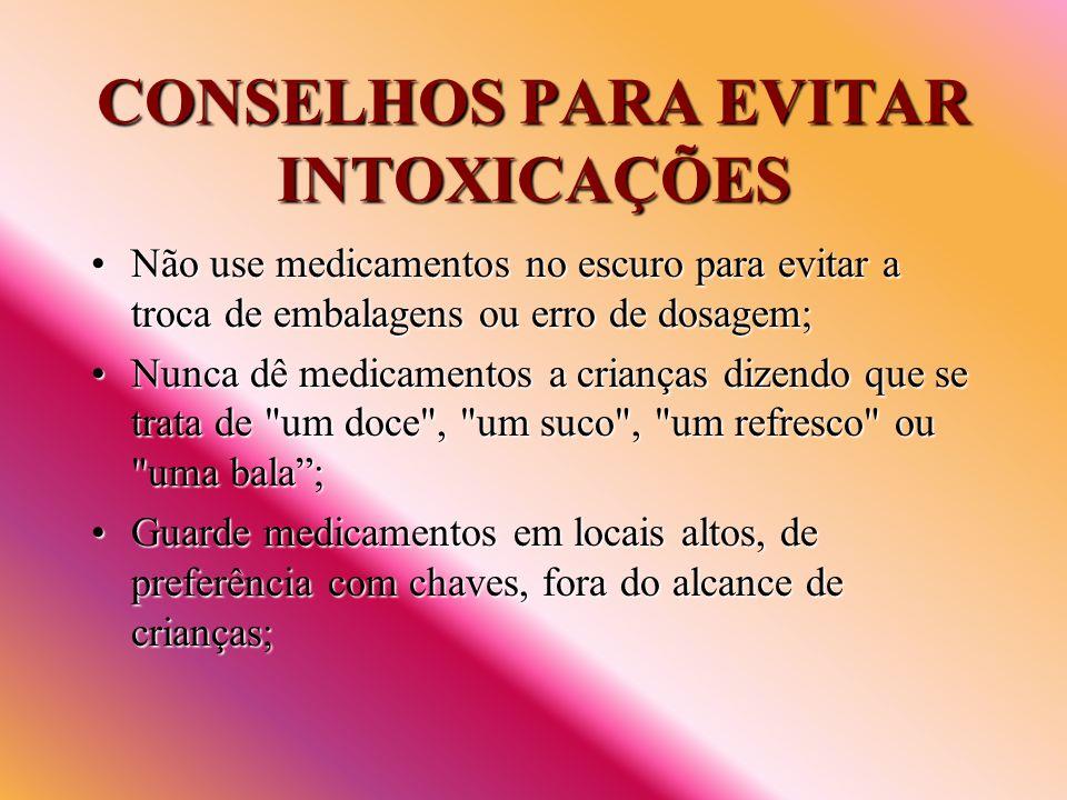 CONSELHOS PARA EVITAR INTOXICAÇÕES Não use medicamentos no escuro para evitar a troca de embalagens ou erro de dosagem;Não use medicamentos no escuro