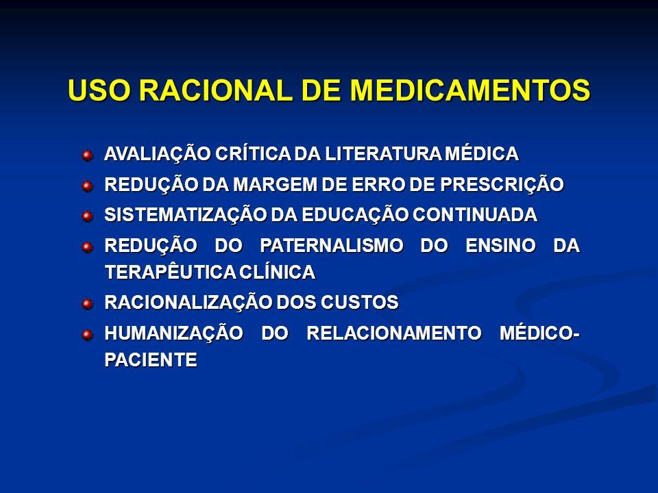 USO RACIONAL DE MEDICAMENTOS AVALIAÇÃO CRÍTICA DA LITERATURA MÉDICA REDUÇÃO DA MARGEM DE ERRO DE PRESCRIÇÃO SISTEMATIZAÇÃO DA EDUCAÇÃO CONTINUADA REDUÇÃO DO PATERNALISMO DO ENSINO DA TERAPÊUTICA CLÍNICA RACIONALIZAÇÃO DOS CUSTOS HUMANIZAÇÃO DO RELACIONAMENTO MÉDICO- PACIENTE