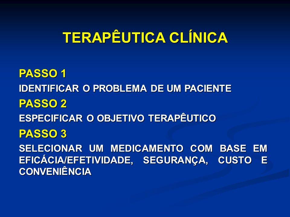 TERAPÊUTICA CLÍNICA PASSO 1 IDENTIFICAR O PROBLEMA DE UM PACIENTE PASSO 2 ESPECIFICAR O OBJETIVO TERAPÊUTICO PASSO 3 SELECIONAR UM MEDICAMENTO COM BASE EM EFICÁCIA/EFETIVIDADE, SEGURANÇA, CUSTO E CONVENIÊNCIA
