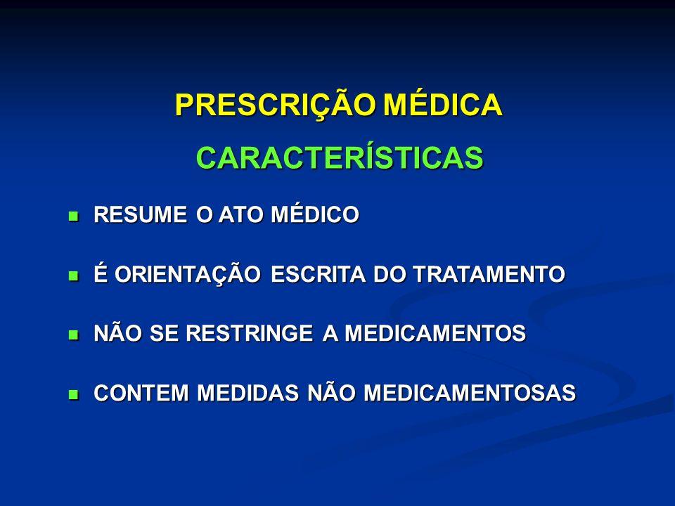 RESUME O ATO MÉDICO RESUME O ATO MÉDICO É ORIENTAÇÃO ESCRITA DO TRATAMENTO É ORIENTAÇÃO ESCRITA DO TRATAMENTO NÃO SE RESTRINGE A MEDICAMENTOS NÃO SE RESTRINGE A MEDICAMENTOS CONTEM MEDIDAS NÃO MEDICAMENTOSAS CONTEM MEDIDAS NÃO MEDICAMENTOSAS CARACTERÍSTICAS PRESCRIÇÃO MÉDICA