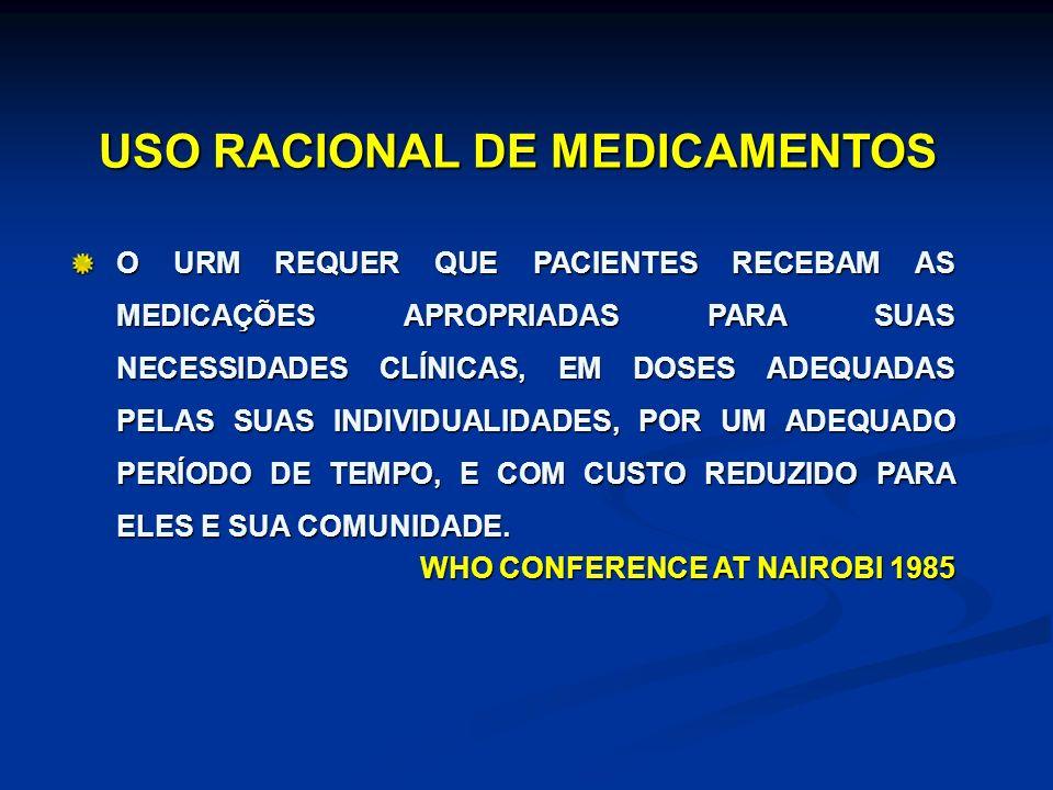 USO RACIONAL DE MEDICAMENTOS O URM REQUER QUE PACIENTES RECEBAM AS MEDICAÇÕES APROPRIADAS PARA SUAS NECESSIDADES CLÍNICAS, EM DOSES ADEQUADAS PELAS SUAS INDIVIDUALIDADES, POR UM ADEQUADO PERÍODO DE TEMPO, E COM CUSTO REDUZIDO PARA ELES E SUA COMUNIDADE.