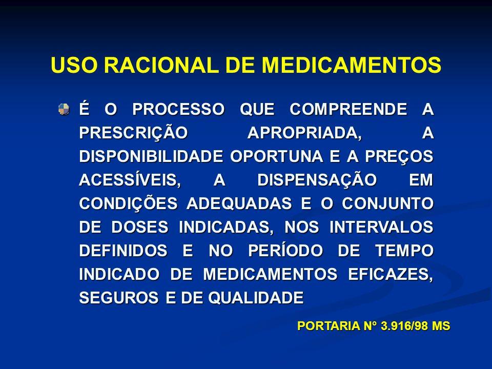 URM É UM PROCESSO ENVOLVENDO SELEÇÃO DO TRATAMENTO (MEDICAMENTO?) ( EFETIVIDADE, SEGURANÇA, CUSTO) PRESCRIÇÃO CORRETA ACESSIBILIDADE DISPENSAÇÃO ADEQUADA CORPO DE DOUTRINA