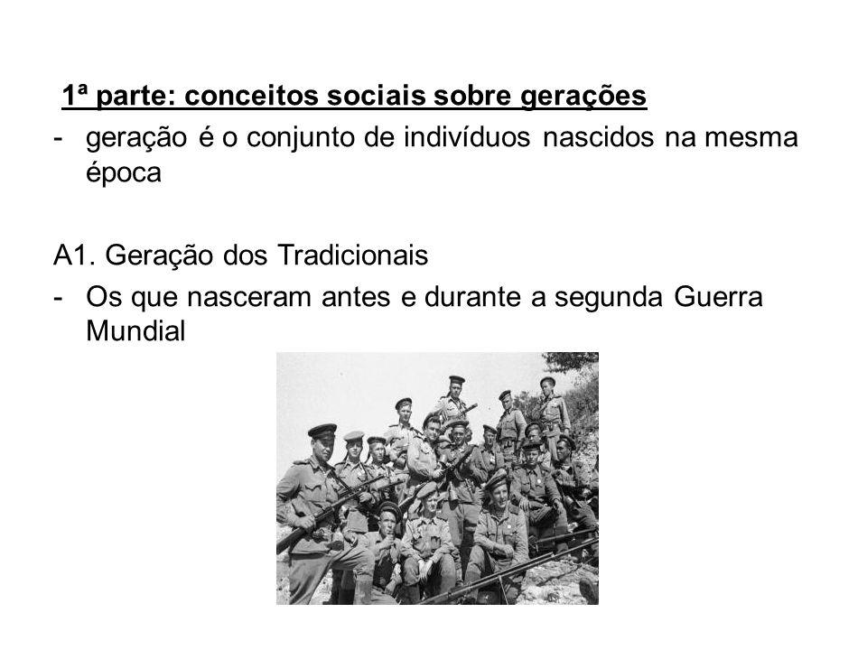 1ª parte: conceitos sociais sobre gerações -geração é o conjunto de indivíduos nascidos na mesma época A1. Geração dos Tradicionais -Os que nasceram a