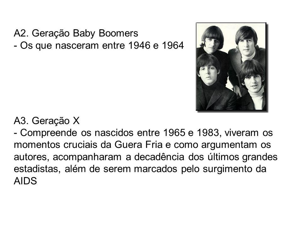 A2. Geração Baby Boomers - Os que nasceram entre 1946 e 1964 A3. Geração X - Compreende os nascidos entre 1965 e 1983, viveram os momentos cruciais da