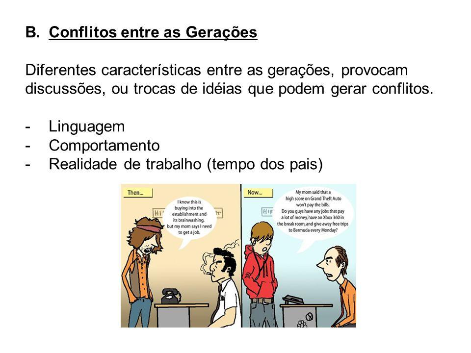 B.Conflitos entre as Gerações Diferentes características entre as gerações, provocam discussões, ou trocas de idéias que podem gerar conflitos. -Lingu