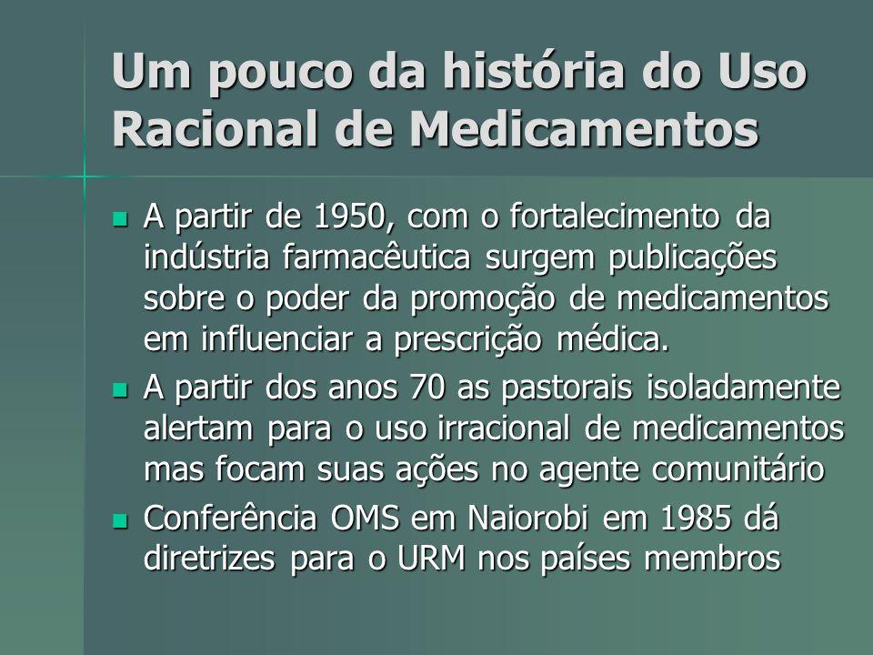 Um pouco da história do Uso Racional de Medicamentos A partir de 1950, com o fortalecimento da indústria farmacêutica surgem publicações sobre o poder