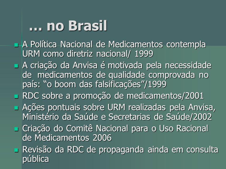 … no Brasil A Política Nacional de Medicamentos contempla URM como diretriz nacional/ 1999 A Política Nacional de Medicamentos contempla URM como dire