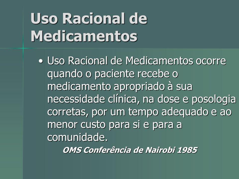 Uso Racional de Medicamentos Uso Racional de Medicamentos ocorre quando o paciente recebe o medicamento apropriado à sua necessidade clínica, na dose