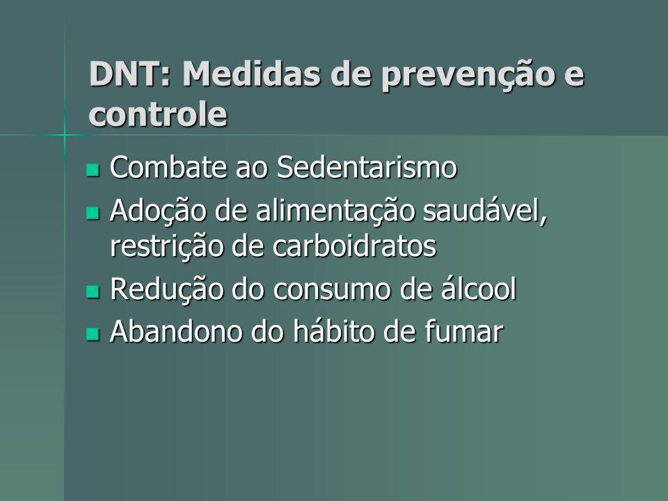 DNT: Medidas de prevenção e controle Combate ao Sedentarismo Combate ao Sedentarismo Adoção de alimentação saudável, restrição de carboidratos Adoção