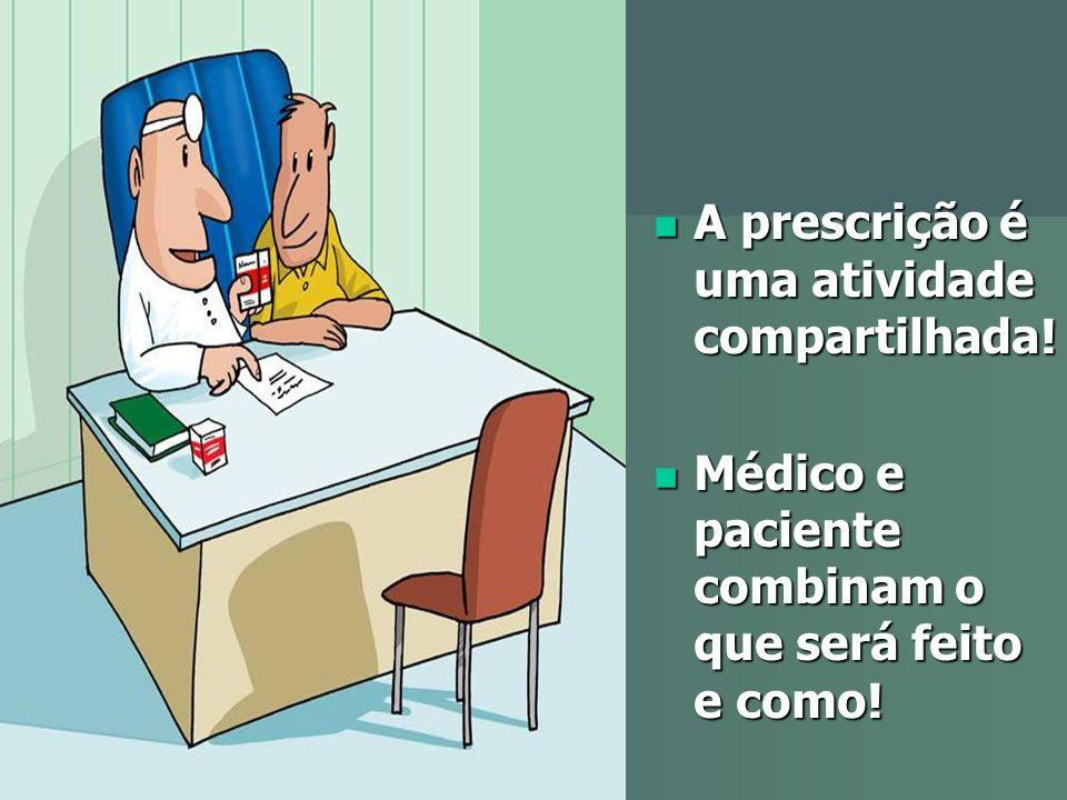 A prescrição é uma atividade compartilhada! A prescrição é uma atividade compartilhada! Médico e paciente combinam o que será feito e como! Médico e p