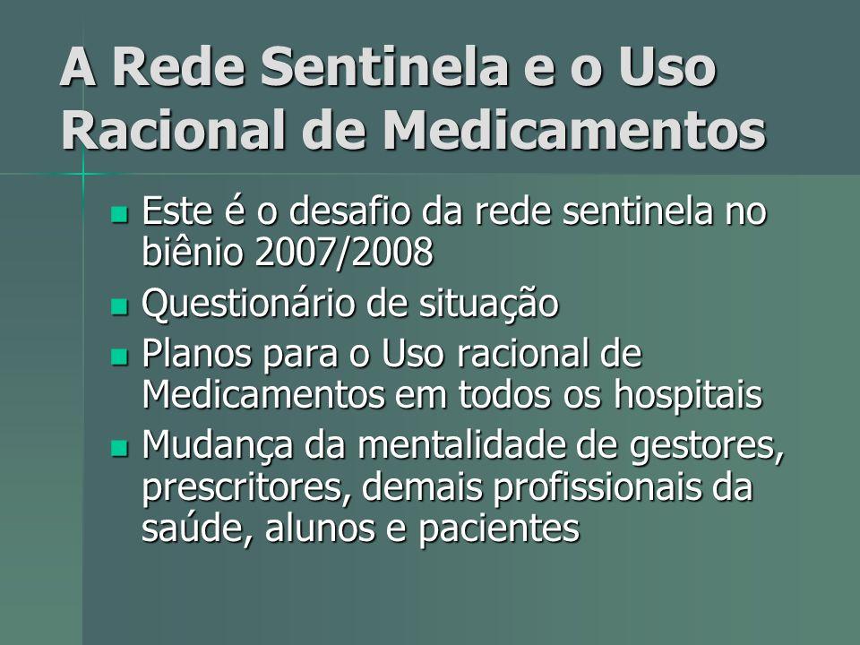 A Rede Sentinela e o Uso Racional de Medicamentos Este é o desafio da rede sentinela no biênio 2007/2008 Este é o desafio da rede sentinela no biênio