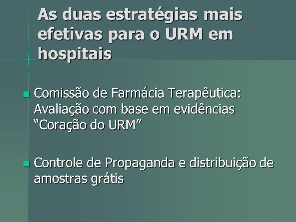 As duas estratégias mais efetivas para o URM em hospitais Comissão de Farmácia Terapêutica: Avaliação com base em evidências Coração do URM Comissão d
