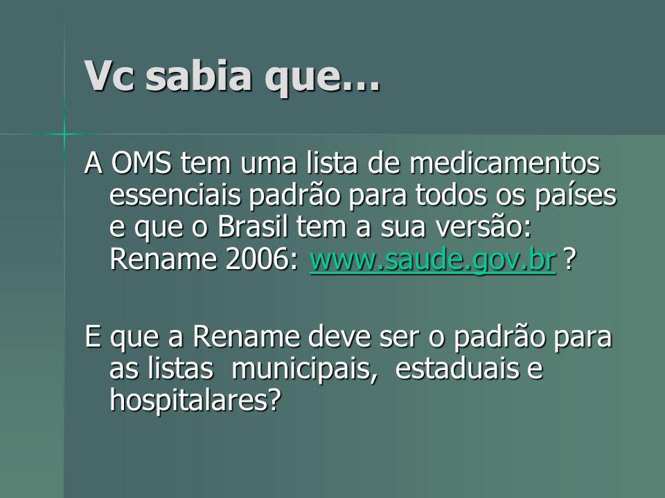 Vc sabia que… A OMS tem uma lista de medicamentos essenciais padrão para todos os países e que o Brasil tem a sua versão: Rename 2006: www.saude.gov.b