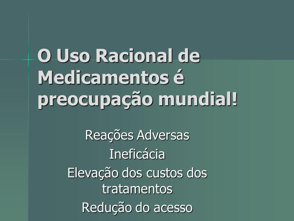 O Uso Racional de Medicamentos é preocupação mundial! Reações Adversas Ineficácia Elevação dos custos dos tratamentos Redução do acesso