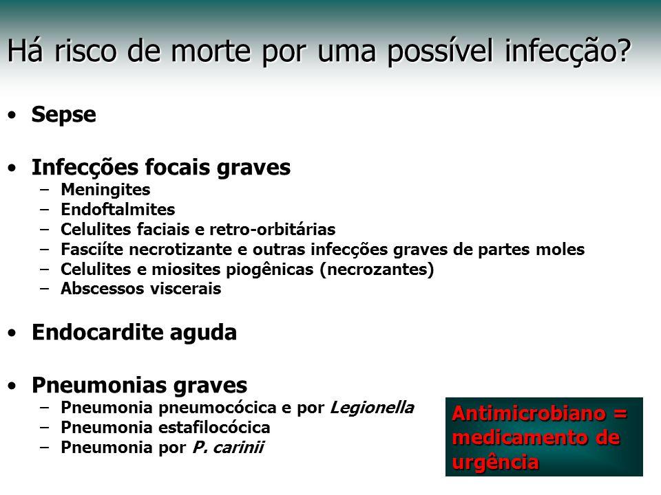 Há risco de morte por uma possível infecção? Sepse Infecções focais graves –Meningites –Endoftalmites –Celulites faciais e retro-orbitárias –Fasciíte