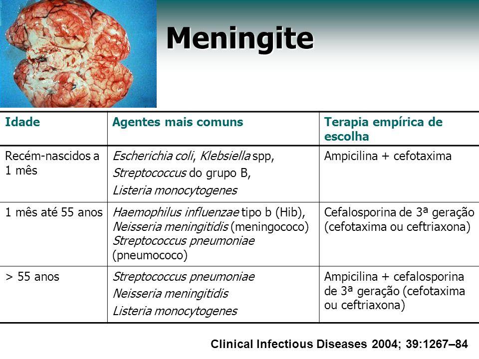 Meningite IdadeAgentes mais comunsTerapia empírica de escolha Recém-nascidos a 1 mês Escherichia coli, Klebsiella spp, Streptococcus do grupo B, Liste