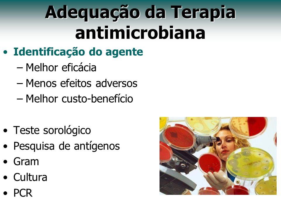 Adequação da Terapia antimicrobiana Identificação do agente –Melhor eficácia –Menos efeitos adversos –Melhor custo-benefício Teste sorológico Pesquisa