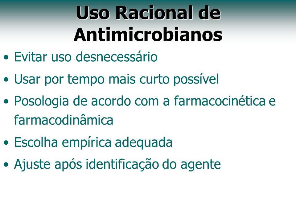 Uso Racional de Antimicrobianos Evitar uso desnecessário Usar por tempo mais curto possível Posologia de acordo com a farmacocinética e farmacodinâmic