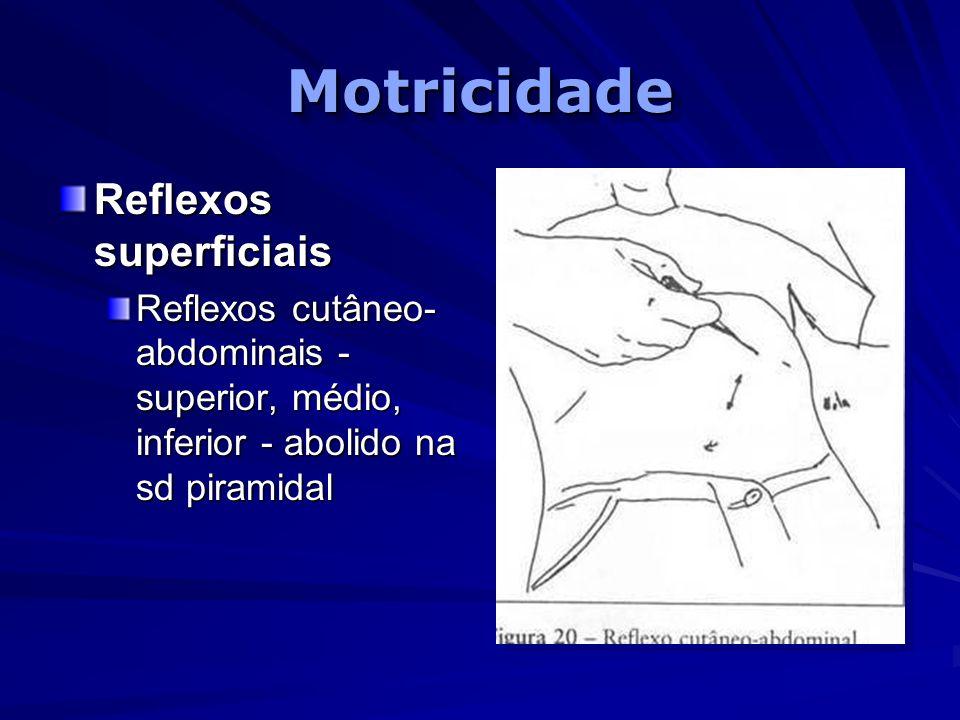 MotricidadeMotricidade Reflexos superficiais Reflexos cutâneo- abdominais - superior, médio, inferior - abolido na sd piramidal