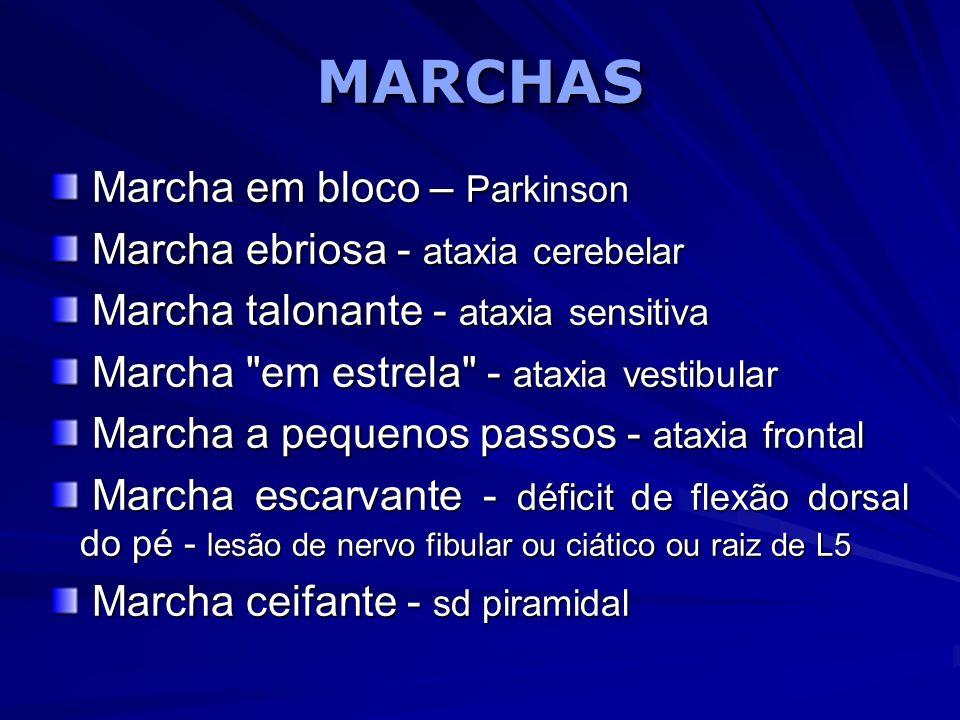 MARCHASMARCHAS Marcha em bloco – Parkinson Marcha em bloco – Parkinson Marcha ebriosa - ataxia cerebelar Marcha ebriosa - ataxia cerebelar Marcha talo