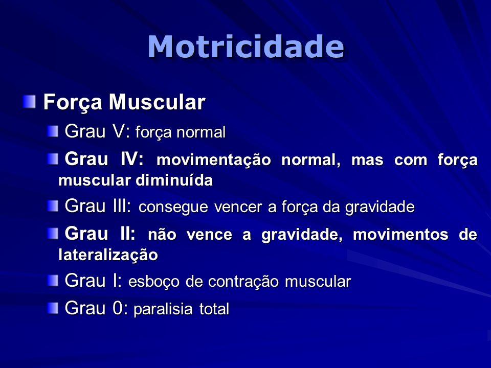 MotricidadeMotricidade Força Muscular Força Muscular Grau V: força normal Grau V: força normal Grau IV: movimentação normal, mas com força muscular di