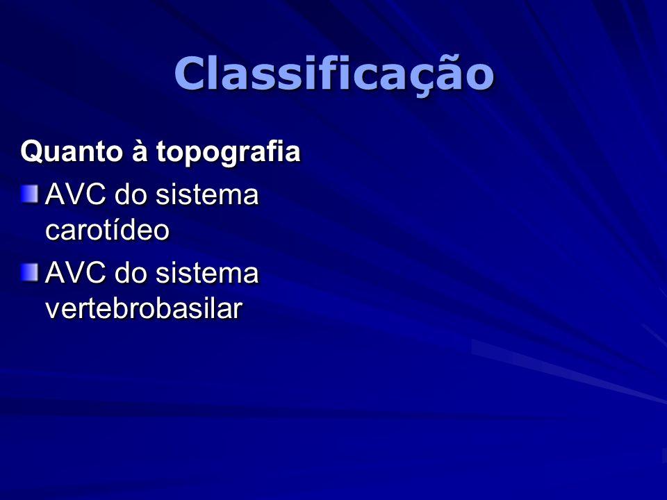 ClassificaçãoClassificação Quanto à topografia AVC do sistema carotídeo AVC do sistema vertebrobasilar Quanto à topografia AVC do sistema carotídeo AV