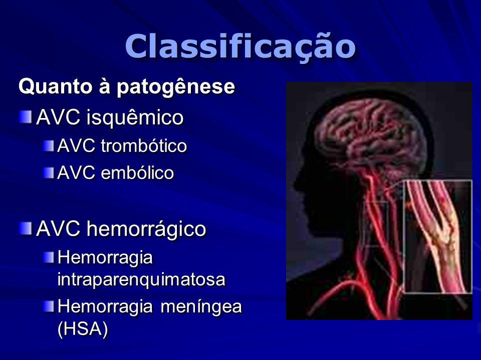 ClassificaçãoClassificação Quanto à patogênese AVC isquêmico AVC trombótico AVC embólico AVC hemorrágico Hemorragia intraparenquimatosa Hemorragia men