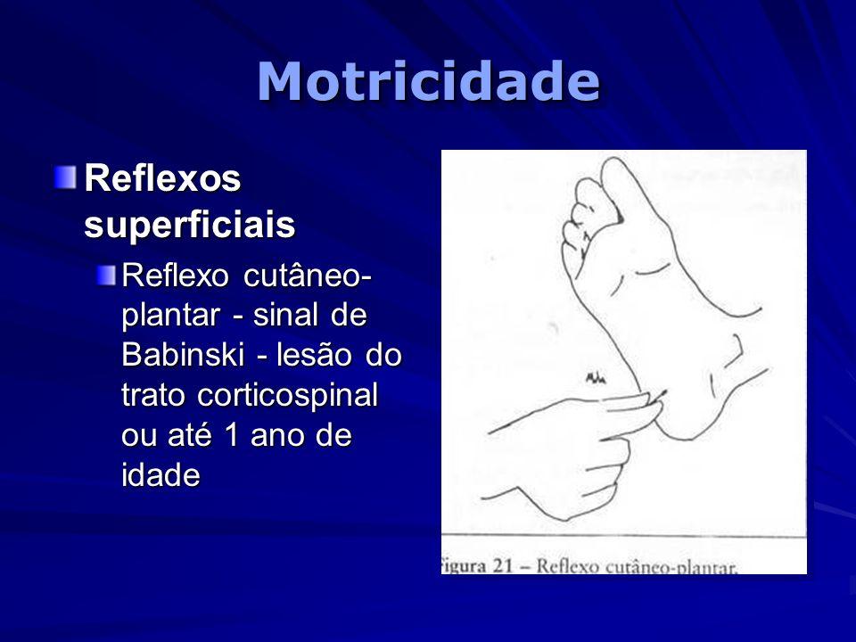 MotricidadeMotricidade Reflexos superficiais Reflexo cutâneo- plantar - sinal de Babinski - lesão do trato corticospinal ou até 1 ano de idade