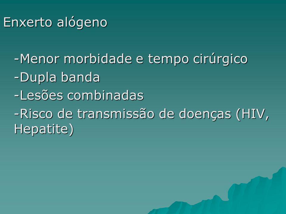 Enxerto alógeno -Menor morbidade e tempo cirúrgico -Dupla banda -Lesões combinadas -Risco de transmissão de doenças (HIV, Hepatite)