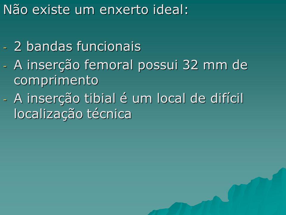 Não existe um enxerto ideal: - 2 bandas funcionais - A inserção femoral possui 32 mm de comprimento - A inserção tibial é um local de difícil localiza