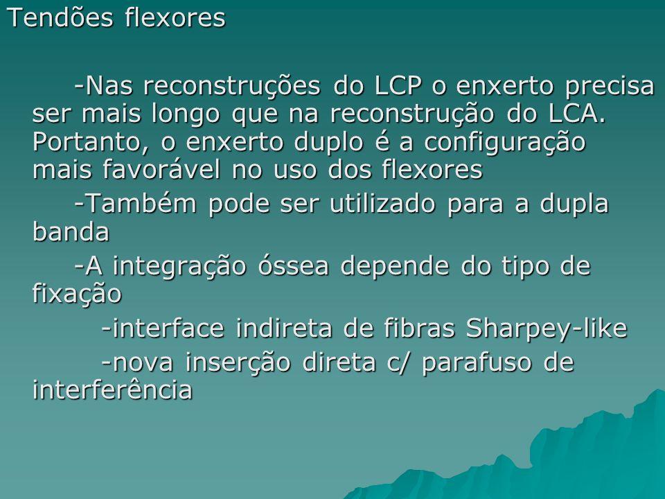 Tendões flexores -Nas reconstruções do LCP o enxerto precisa ser mais longo que na reconstrução do LCA. Portanto, o enxerto duplo é a configuração mai