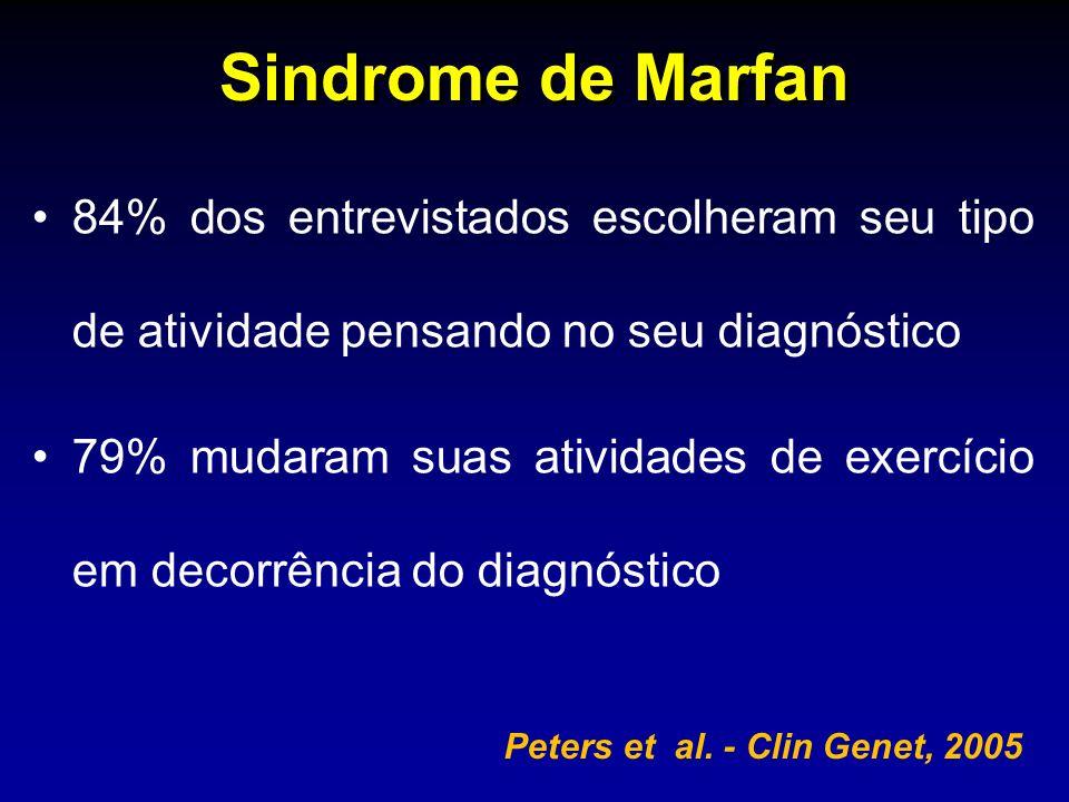 Sindrome de Marfan 84% dos entrevistados escolheram seu tipo de atividade pensando no seu diagnóstico 79% mudaram suas atividades de exercício em deco
