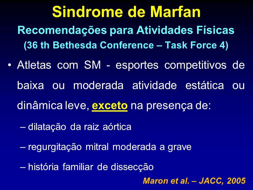 Sindrome de Marfan Recomendações para Atividades Físicas (36 th Bethesda Conference – Task Force 4) Atletas com SM - esportes competitivos de baixa ou