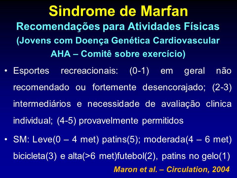 Sindrome de Marfan Recomendações para Atividades Físicas (Jovens com Doença Genética Cardiovascular AHA – Comitê sobre exercício) Esportes recreaciona