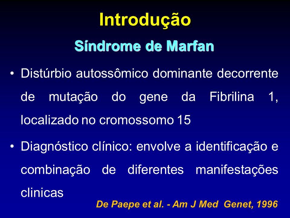 Introdução Síndrome de Marfan Distúrbio autossômico dominante decorrente de mutação do gene da Fibrilina 1, localizado no cromossomo 15 Diagnóstico clínico: envolve a identificação e combinação de diferentes manifestações clinicas De Paepe et al.