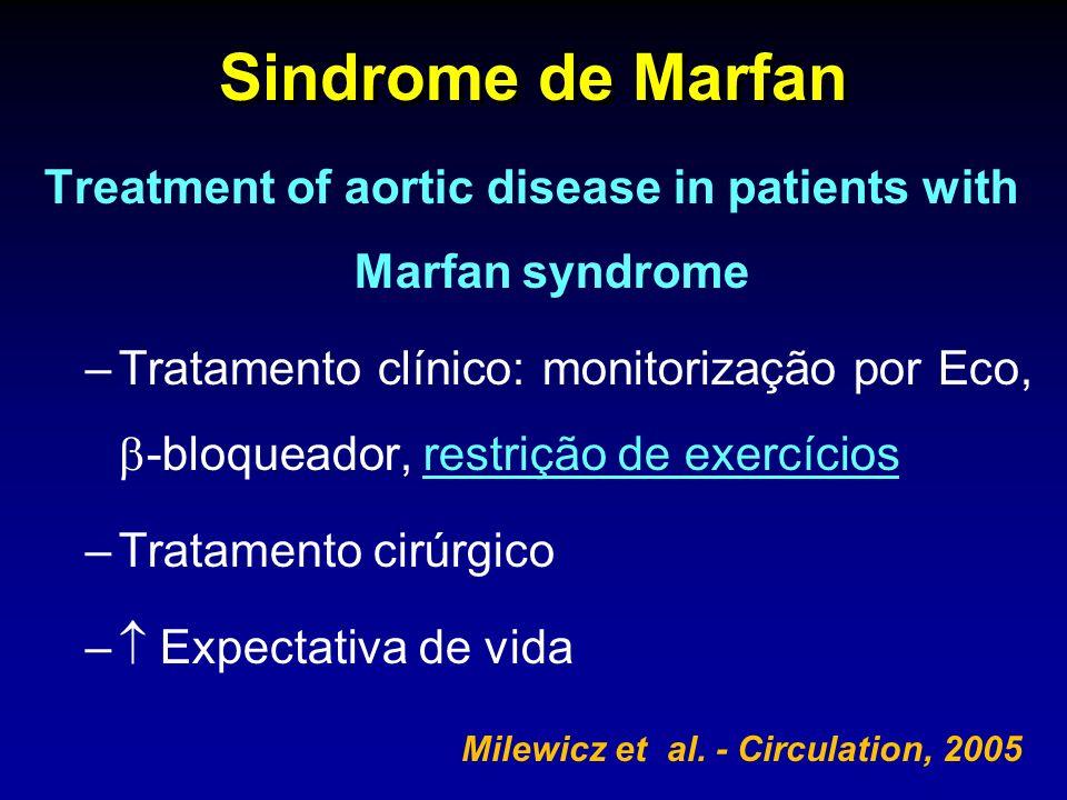 Sindrome de Marfan Treatment of aortic disease in patients with Marfan syndrome –Tratamento clínico: monitorização por Eco, -bloqueador, restrição de