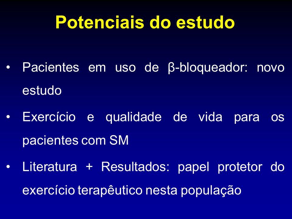 Potenciais do estudo Pacientes em uso de β-bloqueador: novo estudo Exercício e qualidade de vida para os pacientes com SM Literatura + Resultados: pap