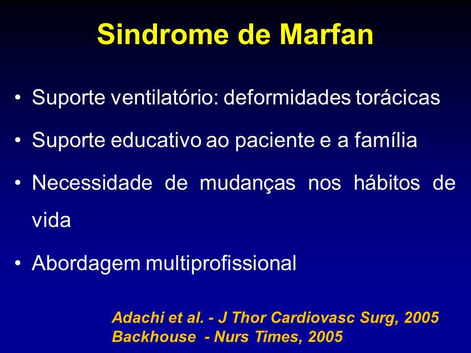 Sindrome de Marfan Suporte ventilatório: deformidades torácicas Suporte educativo ao paciente e a família Necessidade de mudanças nos hábitos de vida Abordagem multiprofissional Adachi et al.