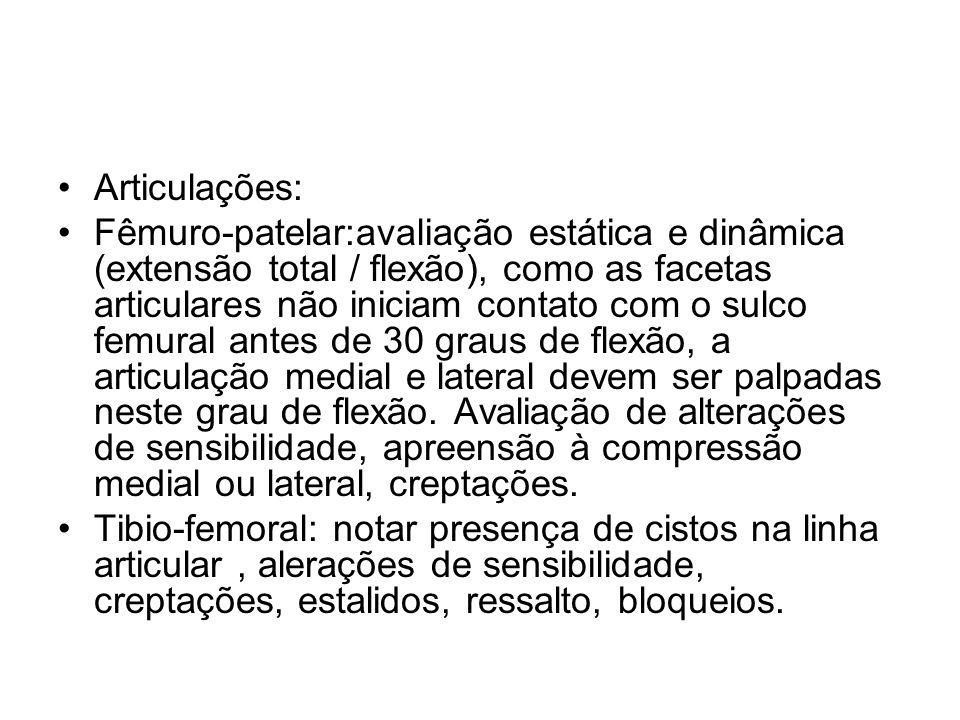 Articulações: Fêmuro-patelar:avaliação estática e dinâmica (extensão total / flexão), como as facetas articulares não iniciam contato com o sulco femu