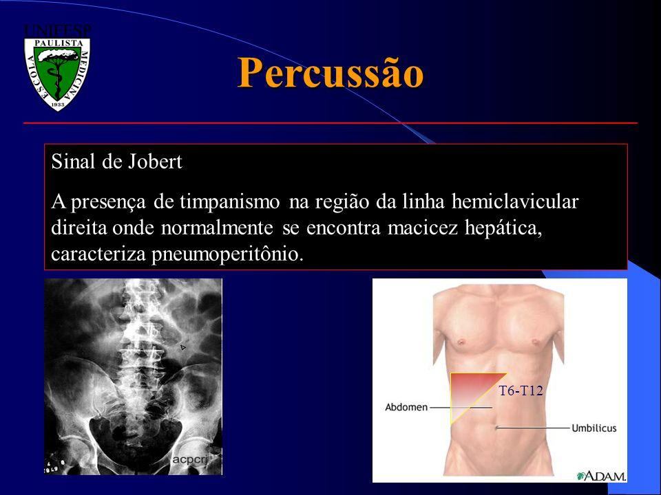 Percussão Sinal de Jobert A presença de timpanismo na região da linha hemiclavicular direita onde normalmente se encontra macicez hepática, caracteriz