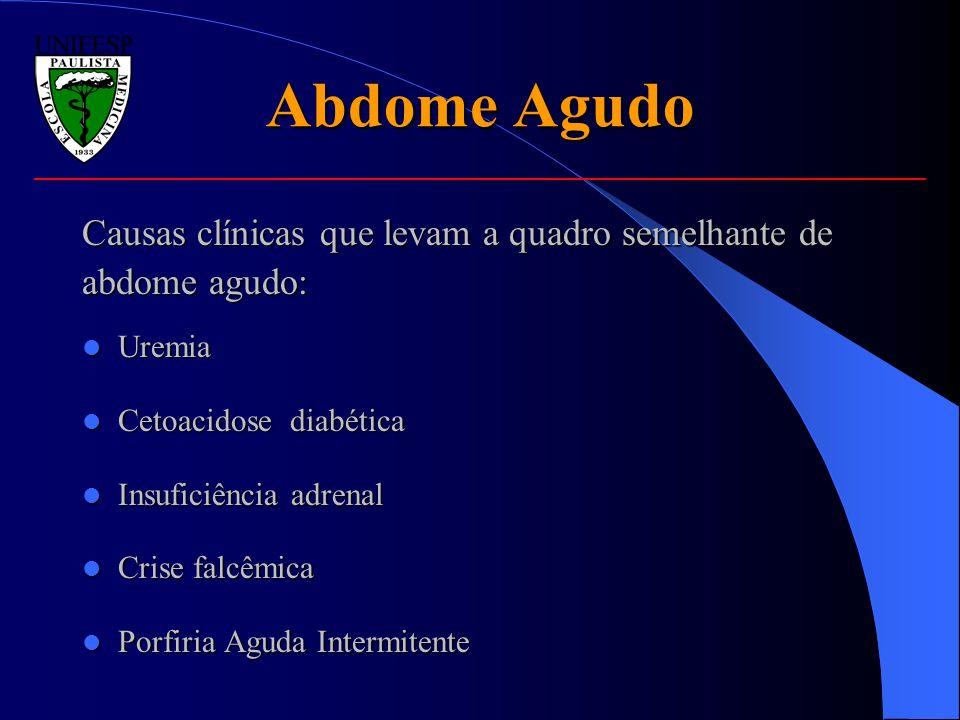 Causas clínicas que levam a quadro semelhante de abdome agudo: Uremia Uremia Cetoacidose diabética Cetoacidose diabética Insuficiência adrenal Insufic