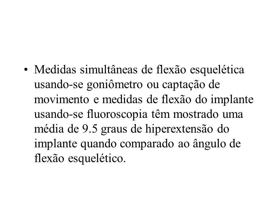 Medidas simultâneas de flexão esquelética usando-se goniômetro ou captação de movimento e medidas de flexão do implante usando-se fluoroscopia têm mostrado uma média de 9.5 graus de hiperextensão do implante quando comparado ao ângulo de flexão esquelético.